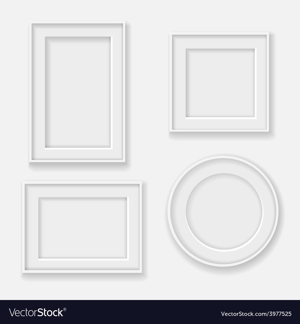 Blank white picture frame template set vector | Price: 1 Credit (USD $1)