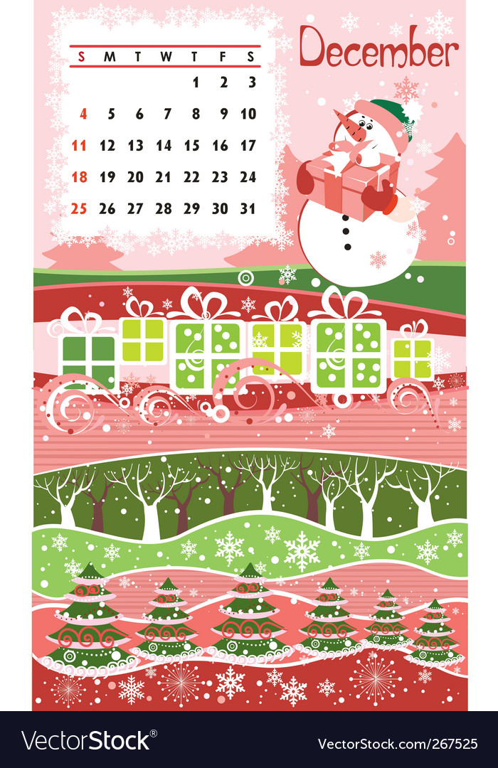 Calendar december vector | Price: 1 Credit (USD $1)