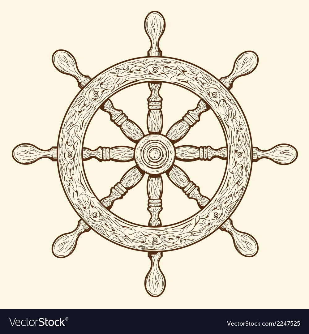 Detailed grey outlines nautical rudder vector | Price: 1 Credit (USD $1)