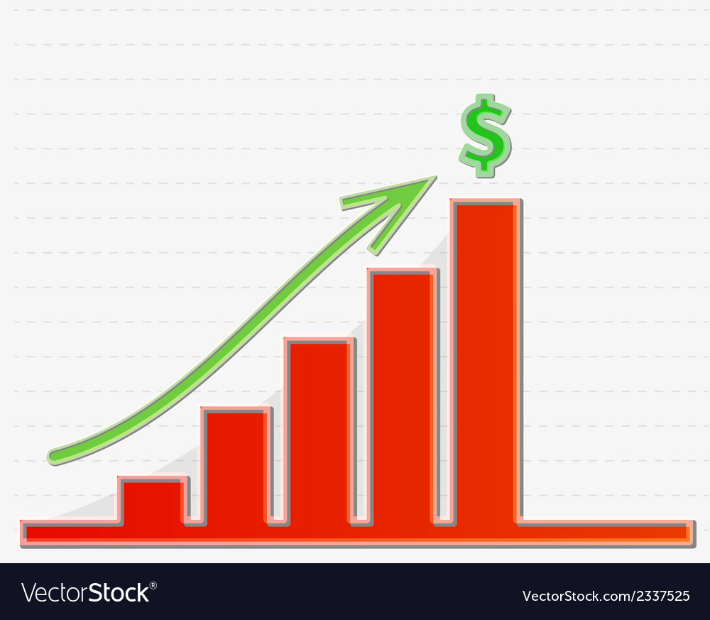 Graph growing to the top for money vector | Price: 1 Credit (USD $1)