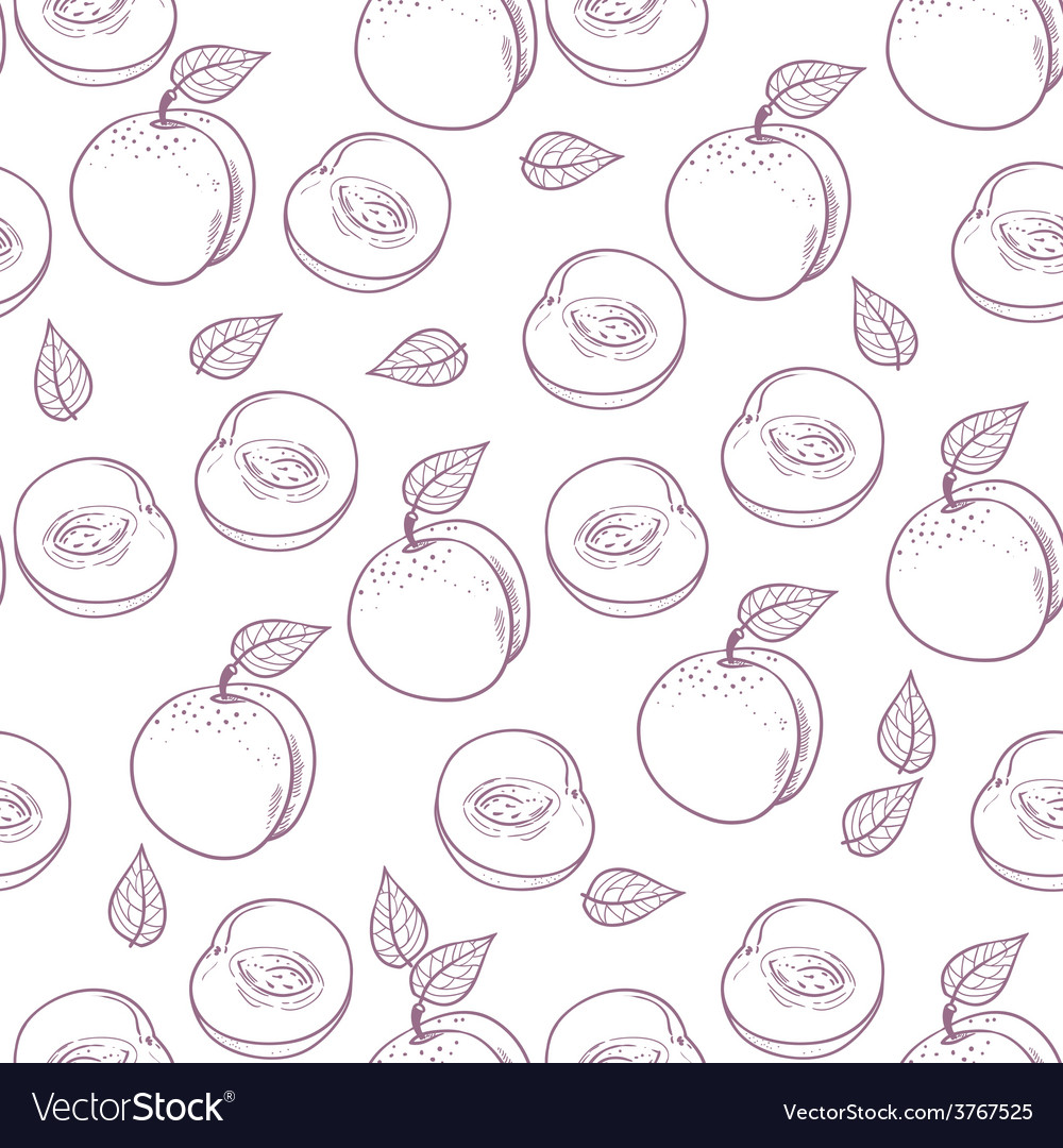 Hand drawn outline peach with slice seamless patte vector | Price: 1 Credit (USD $1)