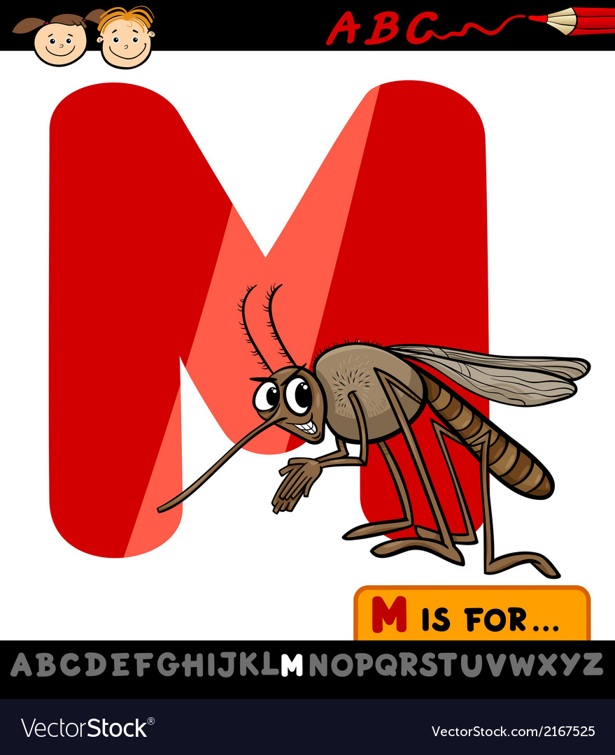 Letter m with mosquito cartoon vector | Price: 1 Credit (USD $1)