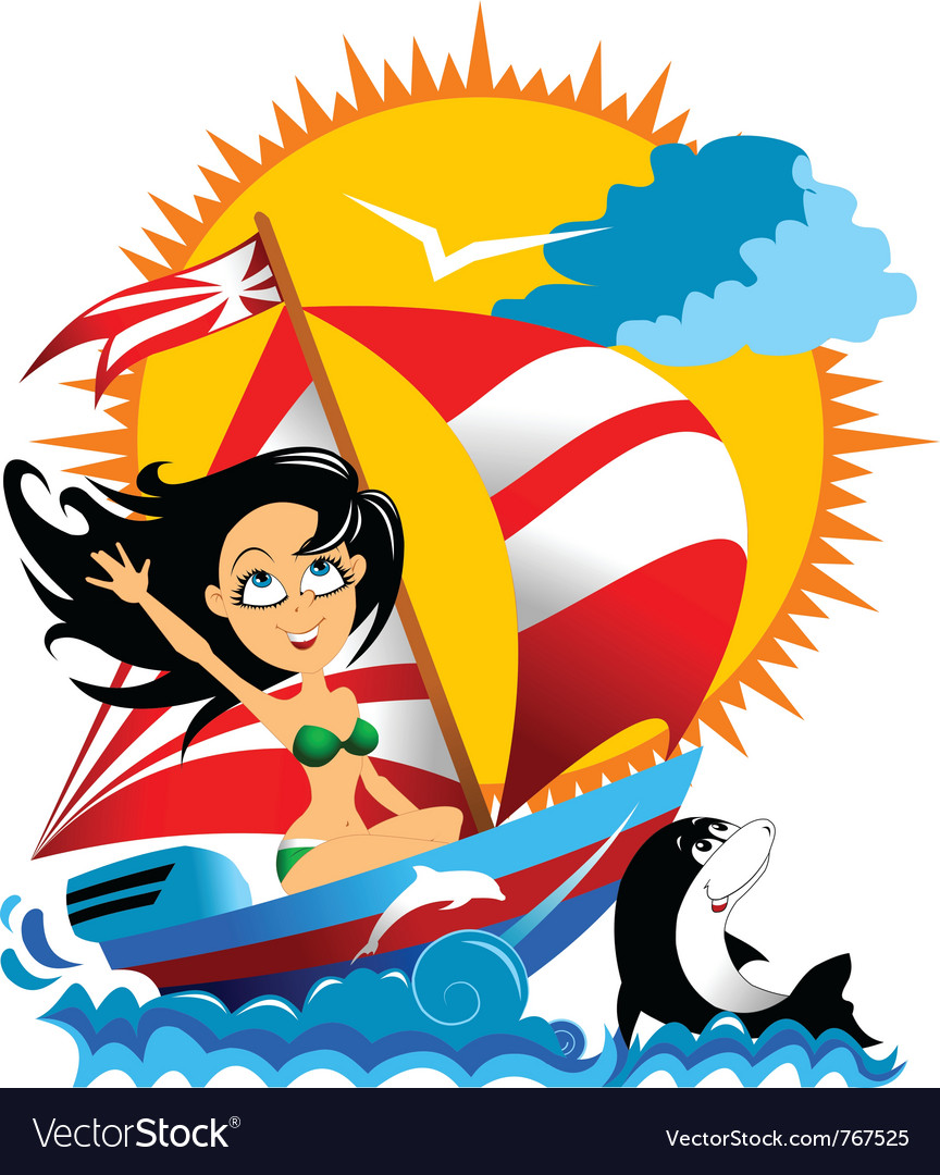 Sailing beauty vector | Price: 1 Credit (USD $1)