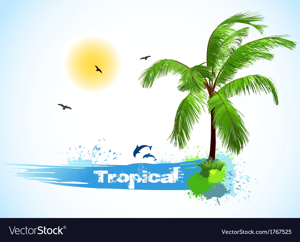Sea and coconut palm vector | Price: 1 Credit (USD $1)