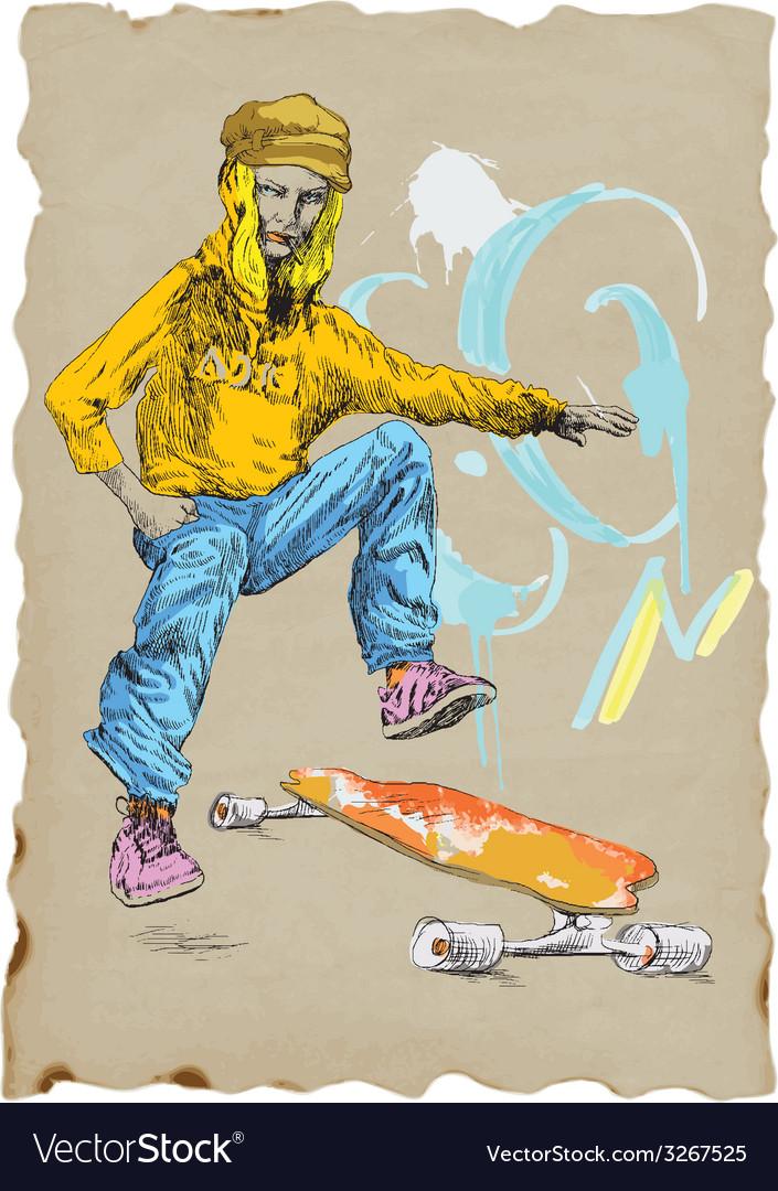 Skateboarder vector | Price: 1 Credit (USD $1)