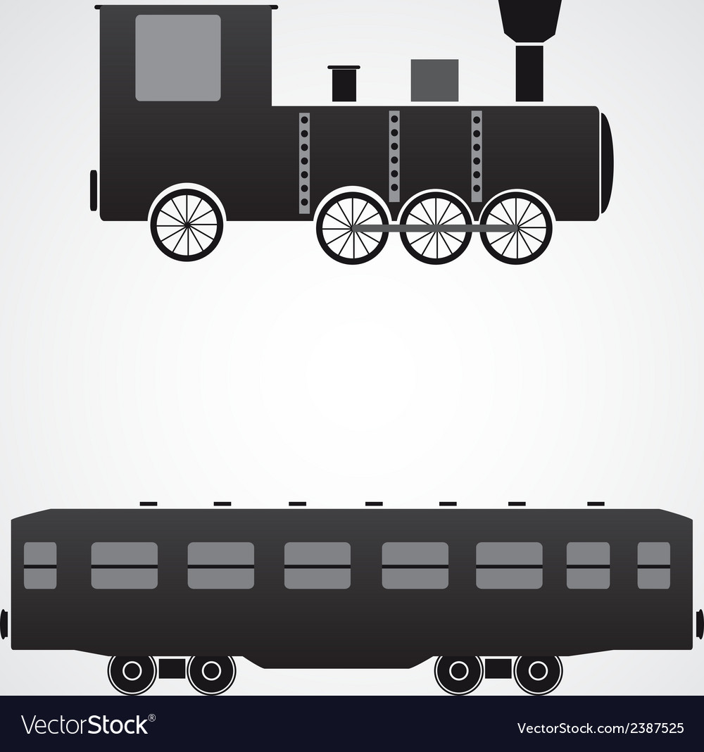 Train locomotive and wagon eps10 vector | Price: 1 Credit (USD $1)
