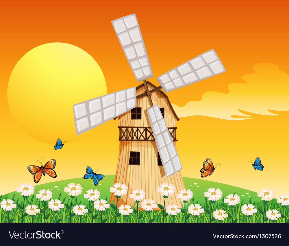 A wooden windmill at the garden vector | Price: 1 Credit (USD $1)