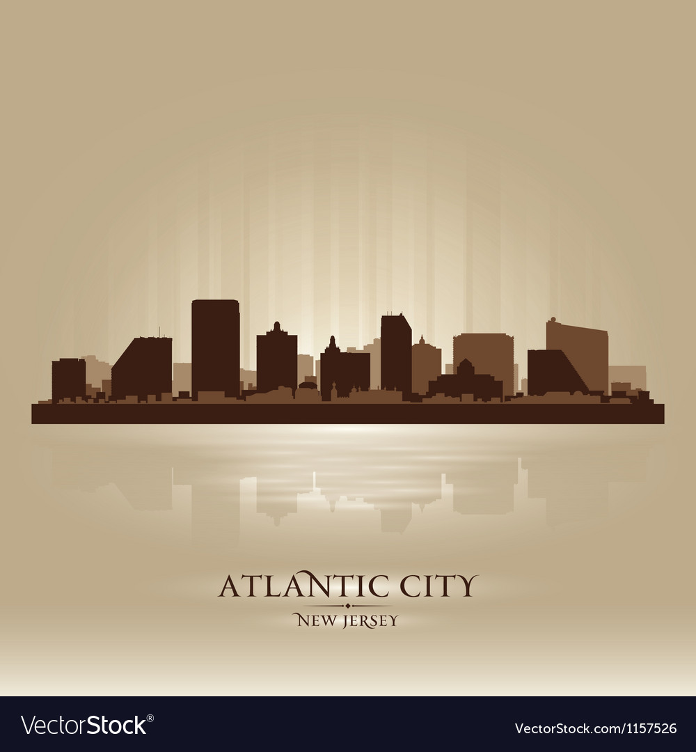 Atlantic city new jersey skyline city silhouette vector | Price: 1 Credit (USD $1)