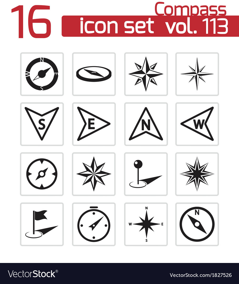 Black compass icons set vector | Price: 1 Credit (USD $1)