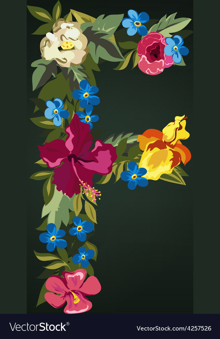 F letter flower capital alphabet colorful font vector | Price: 1 Credit (USD $1)
