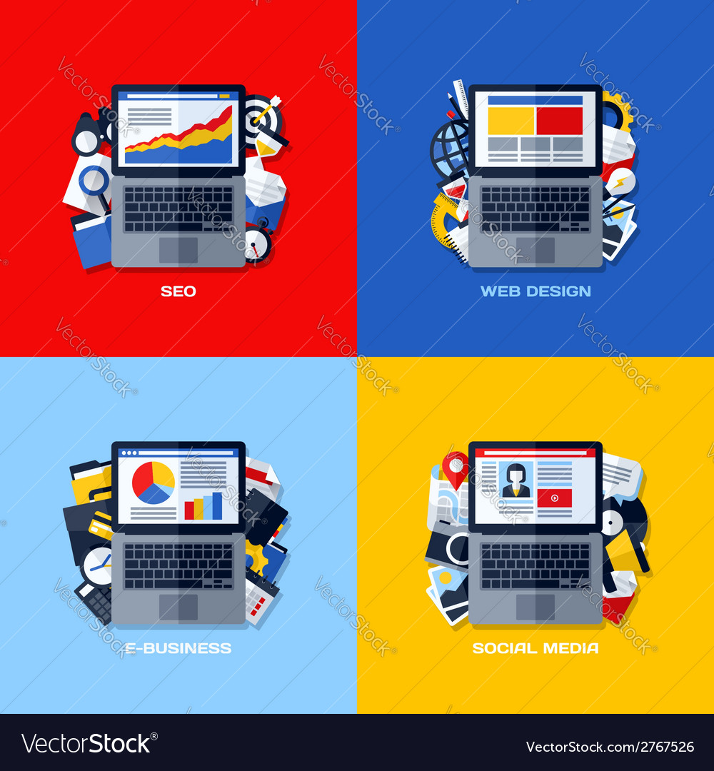 Flat concepts of seo web design e-business media vector | Price: 1 Credit (USD $1)