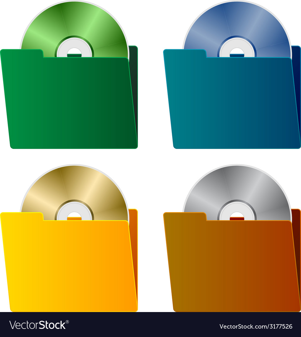 Folders with cd vector | Price: 1 Credit (USD $1)