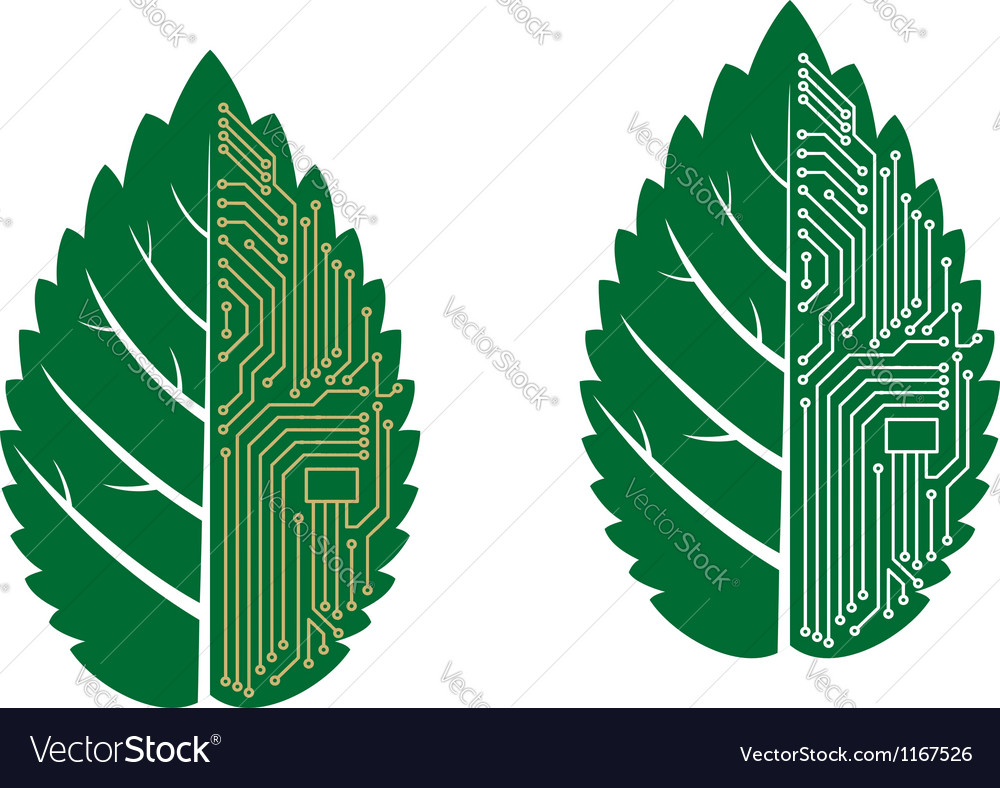 Green leaf with computer and motherboard elements vector | Price: 1 Credit (USD $1)