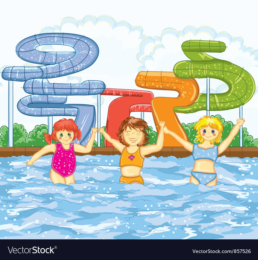 Kids playing in the swimming pool vector | Price: 3 Credit (USD $3)