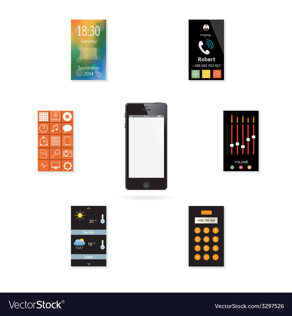 The mobile phone with a set of icons vector | Price: 1 Credit (USD $1)