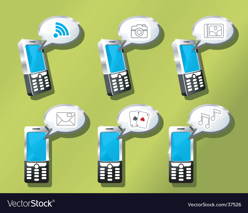 Mobile phones icon set vector | Price: 1 Credit (USD $1)