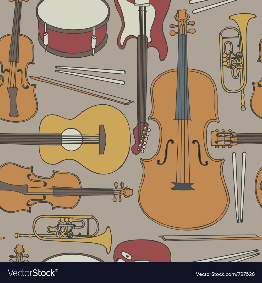 Musical instruments seamless pattern vector | Price: 1 Credit (USD $1)
