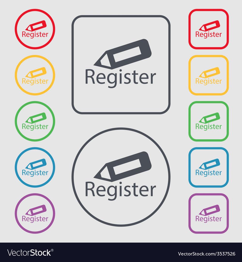 Register sign icon membership symbol website vector | Price: 1 Credit (USD $1)
