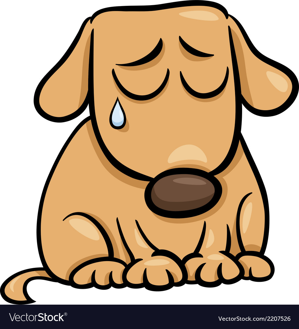 Sad dog cartoon vector | Price: 1 Credit (USD $1)