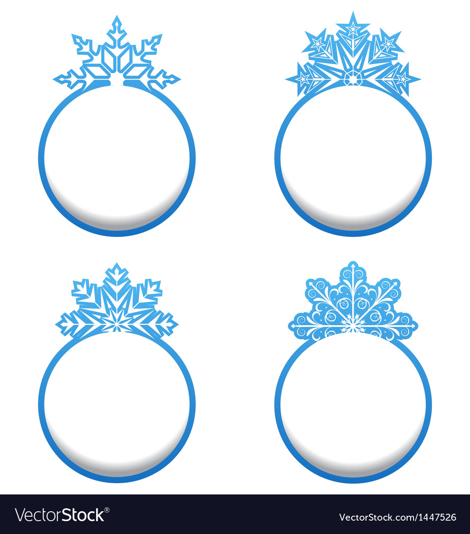 Set of variation label with snowflakes isolated vector | Price: 1 Credit (USD $1)