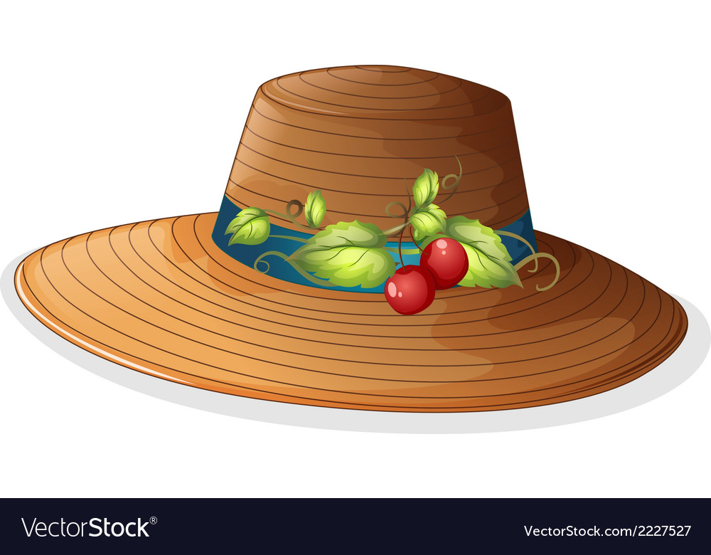 A brown hat with cherries vector | Price: 1 Credit (USD $1)