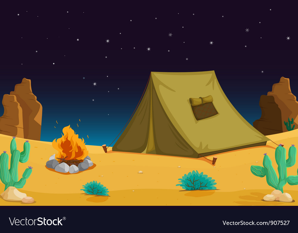 Camping at night vector | Price: 1 Credit (USD $1)