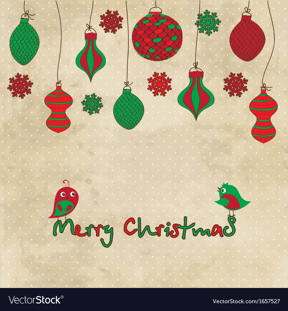 Card with christmas balls and toys on vintage vector | Price: 1 Credit (USD $1)