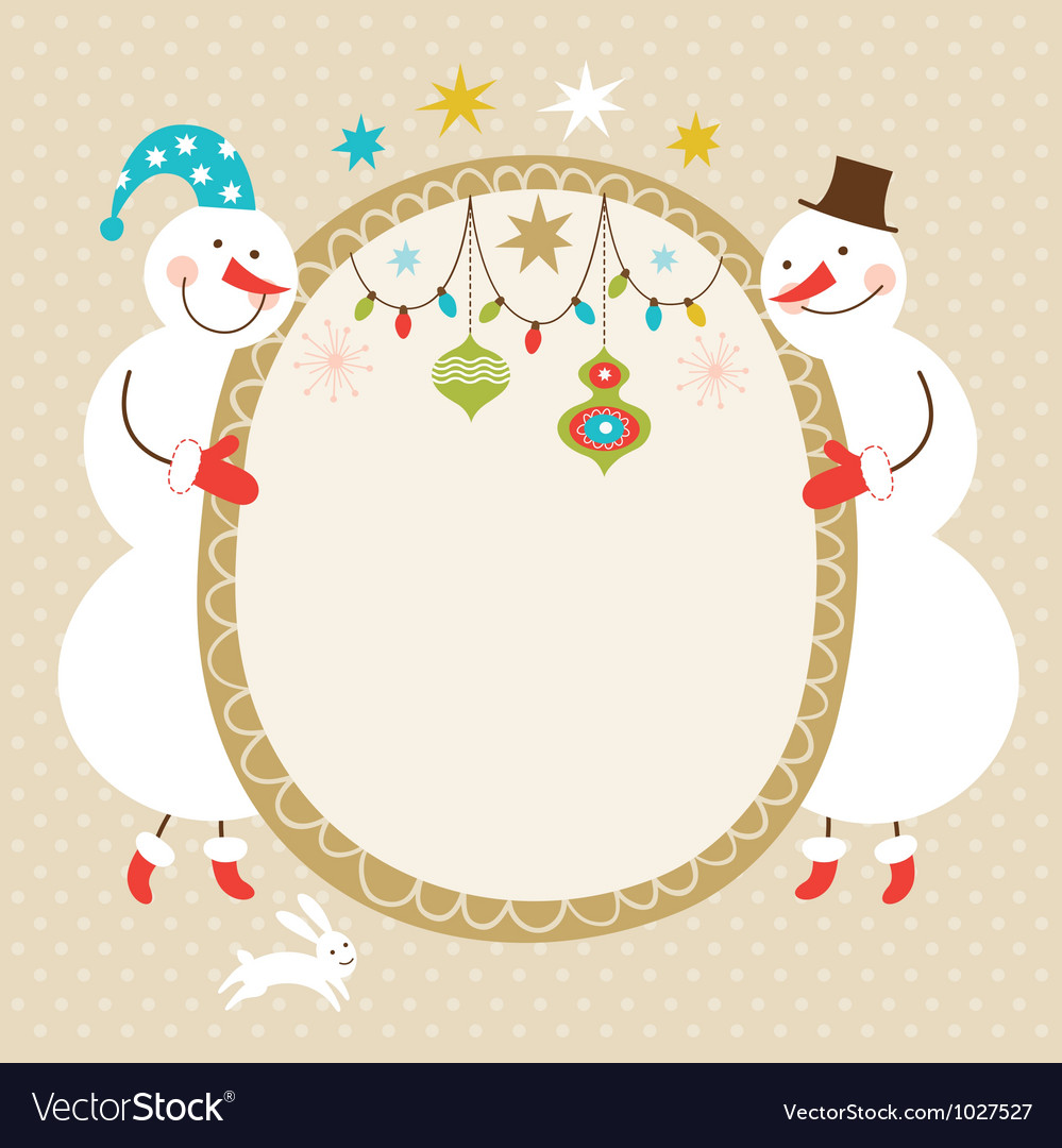 Cute snowmen and frame for text vector | Price: 3 Credit (USD $3)