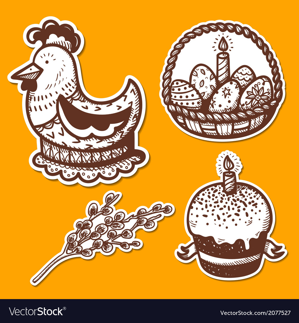 Easter objects stickers collection vector | Price: 1 Credit (USD $1)