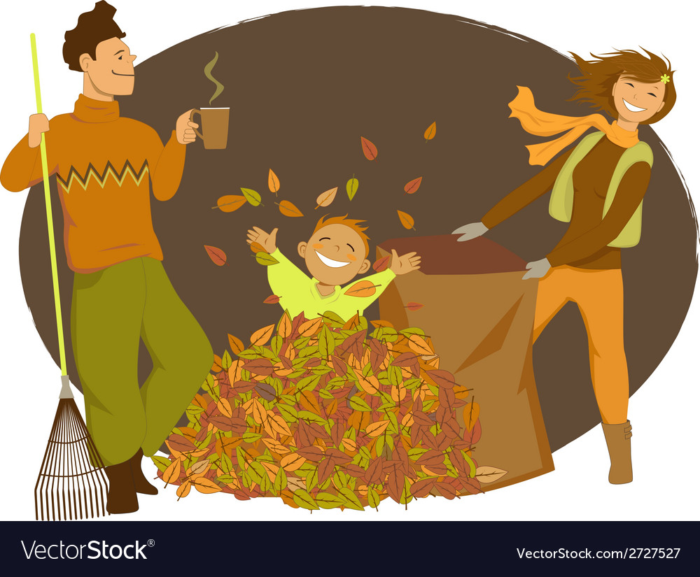 Family raking autumn leaves vector | Price: 1 Credit (USD $1)