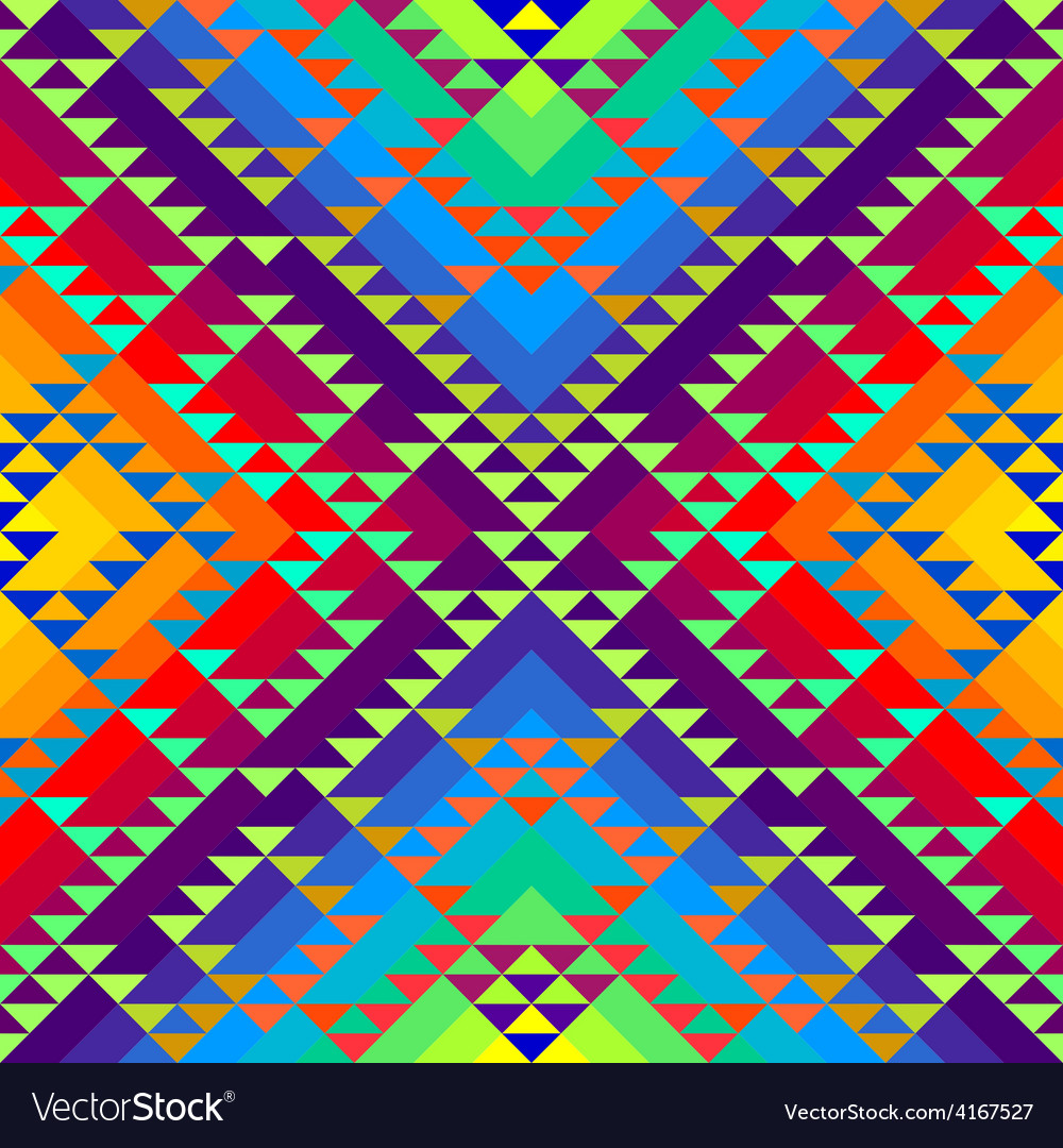 Geometric triangles pattern on rainbow colorful vector | Price: 1 Credit (USD $1)