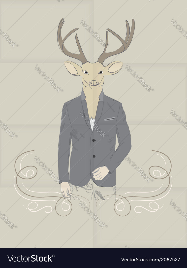 Hand drawn of deer in a suit vector | Price: 1 Credit (USD $1)