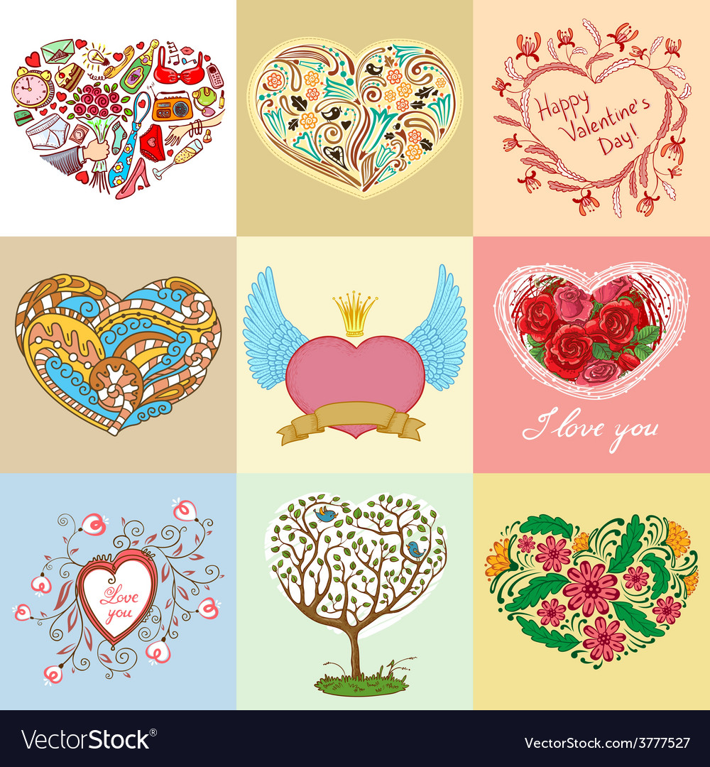 Heart shapes set vector | Price: 1 Credit (USD $1)