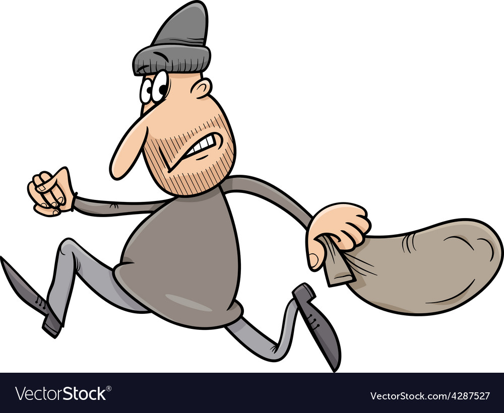 Running thief with sack cartoon vector | Price: 1 Credit (USD $1)