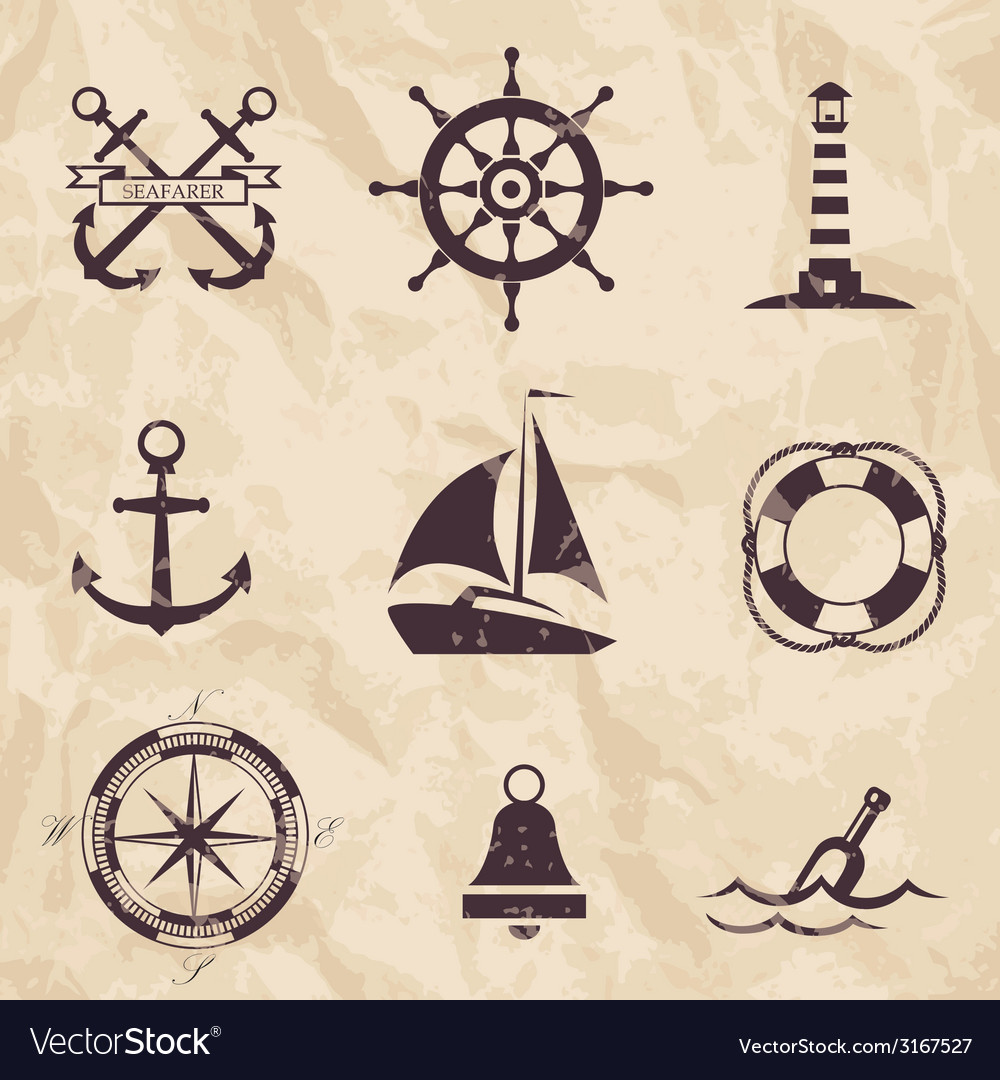 Seafarer set nautical design elements vector | Price: 1 Credit (USD $1)