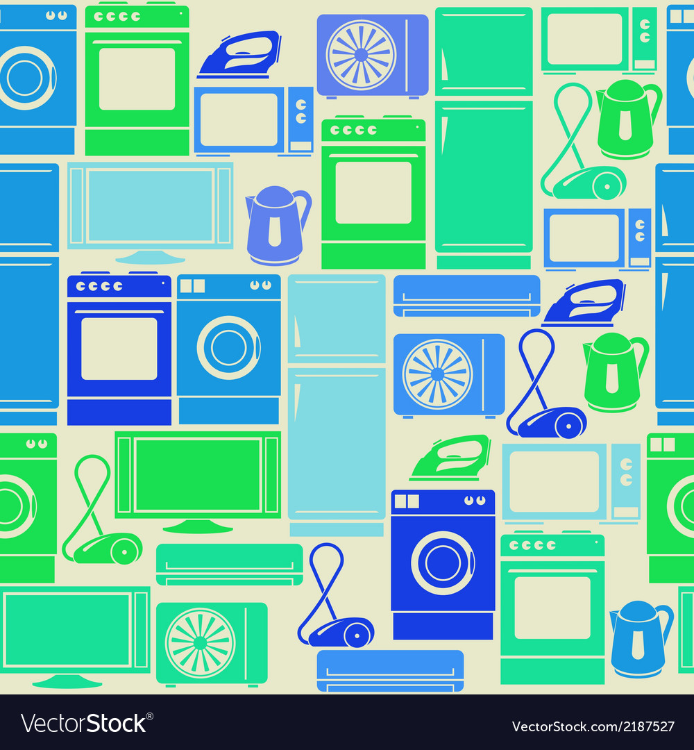 Seamless pattern with domestic electric appliances vector | Price: 1 Credit (USD $1)