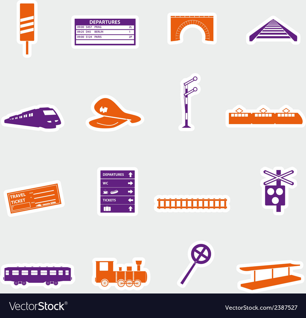 Train and railway stickers eps10 vector | Price: 1 Credit (USD $1)