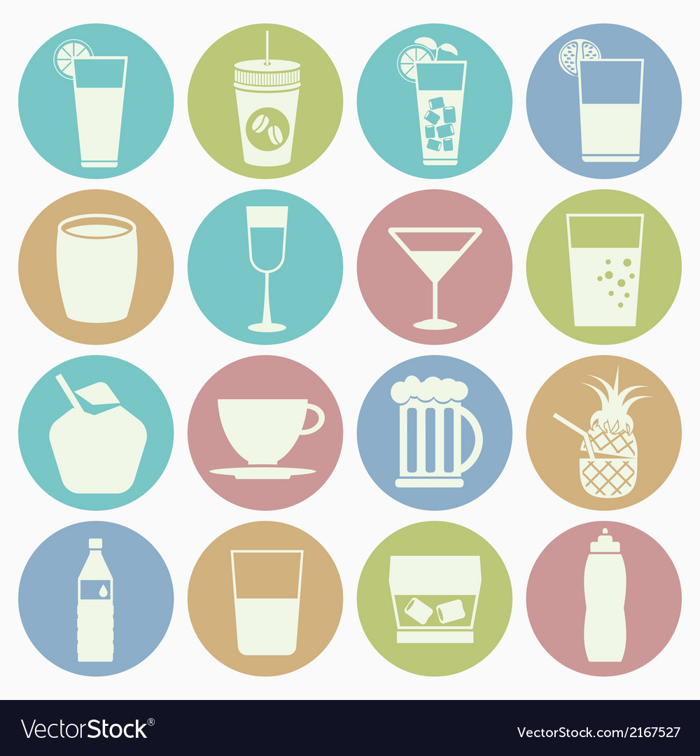 White icons drink vector | Price: 1 Credit (USD $1)