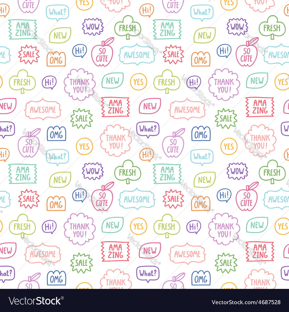 Colorful outline phrases repeat pattern on white vector | Price: 1 Credit (USD $1)