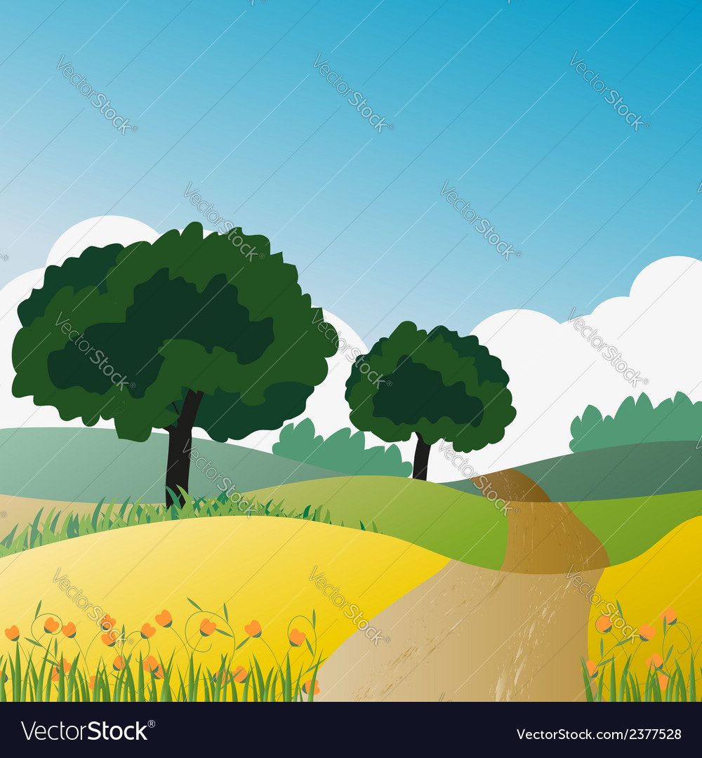 Countryside trees and natural green vector | Price: 1 Credit (USD $1)