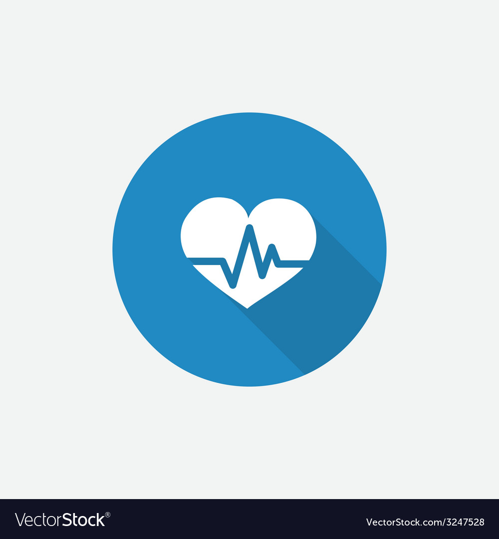 Heart pulse flat blue simple icon with long shadow vector | Price: 1 Credit (USD $1)
