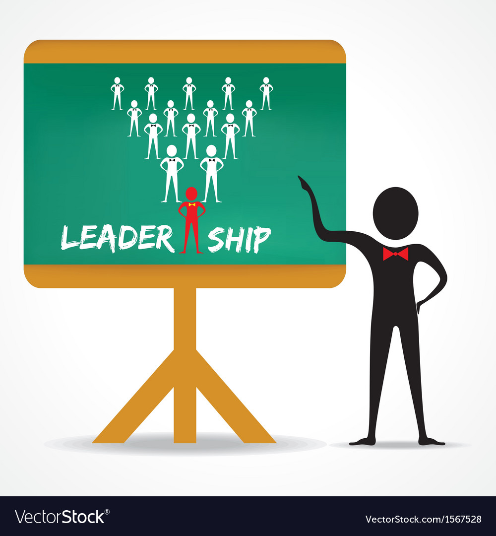 Man points to leadership concept on green board vector | Price: 1 Credit (USD $1)