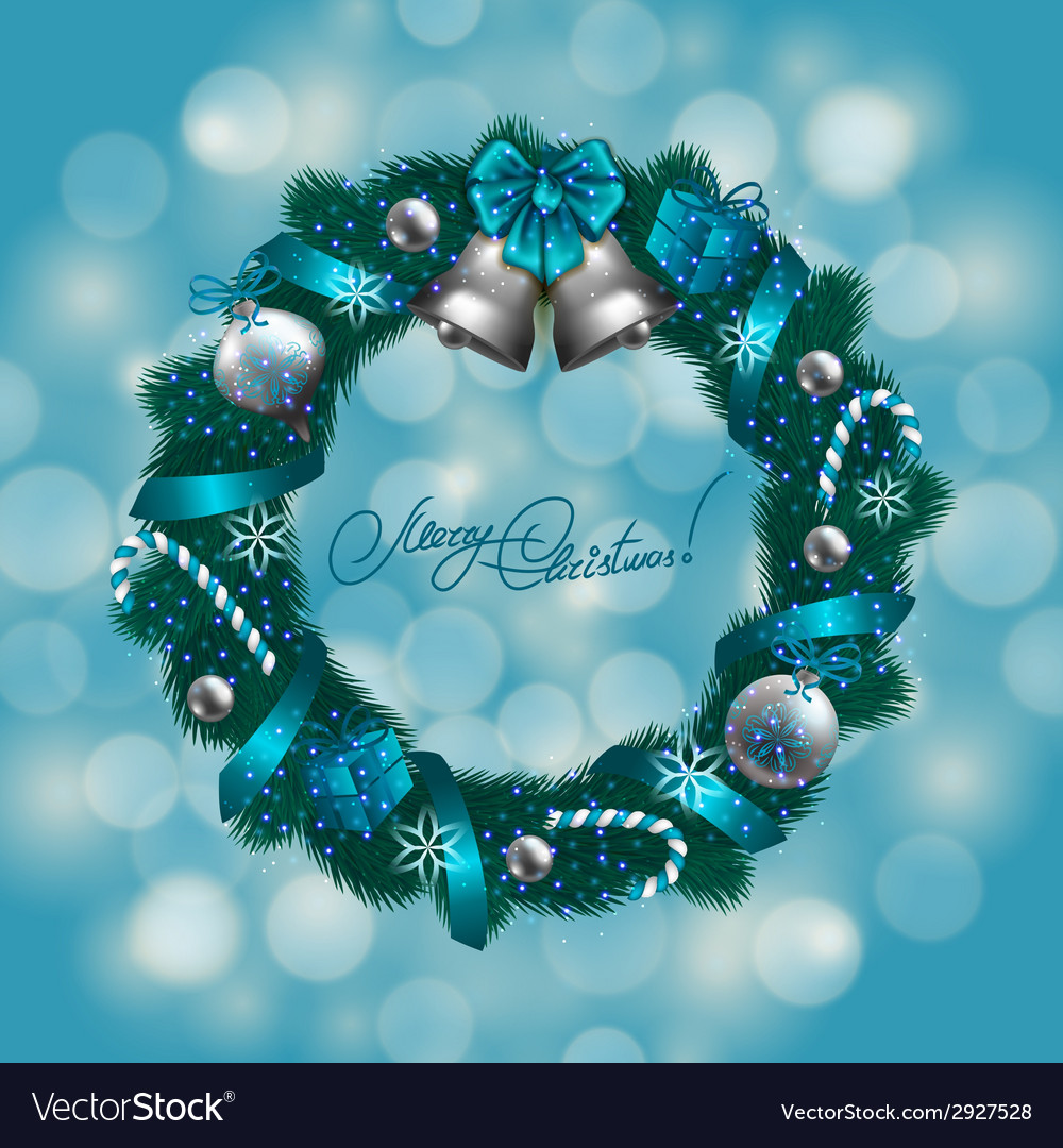 New years background - a wreath of fir branches vector   Price: 1 Credit (USD $1)