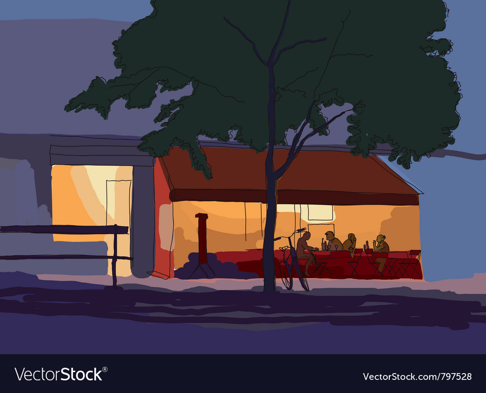 Old city in the evening vector | Price: 1 Credit (USD $1)
