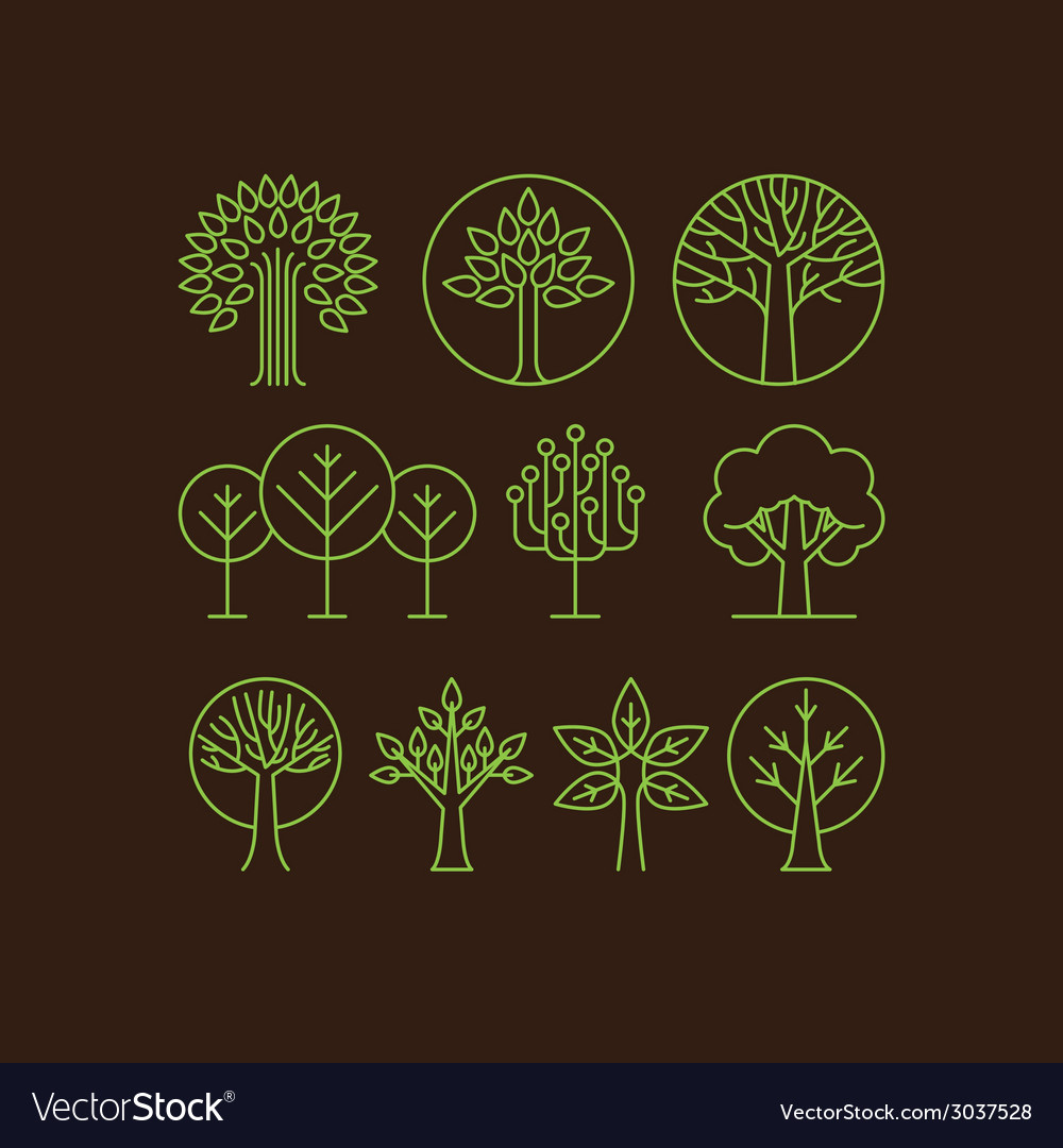 Organic tree icons vector | Price: 1 Credit (USD $1)