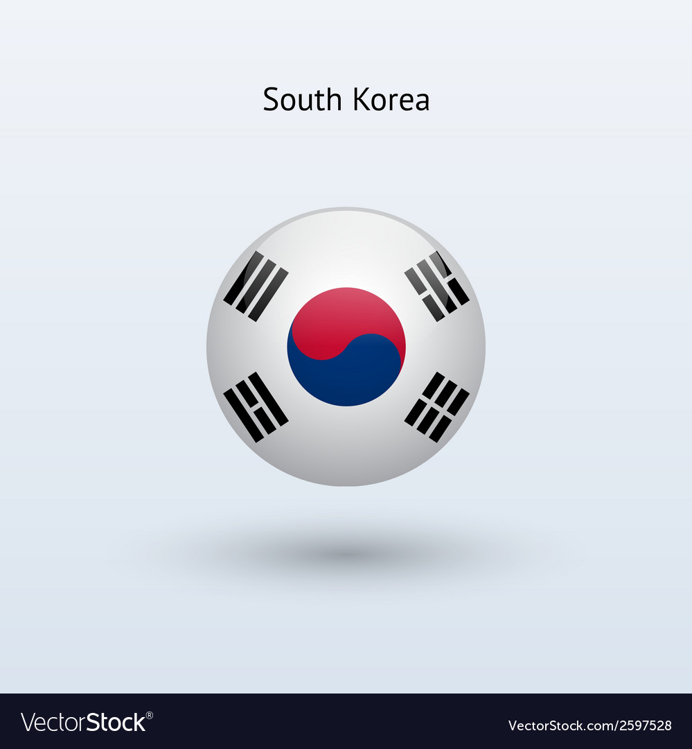 South korea round flag vector | Price: 1 Credit (USD $1)