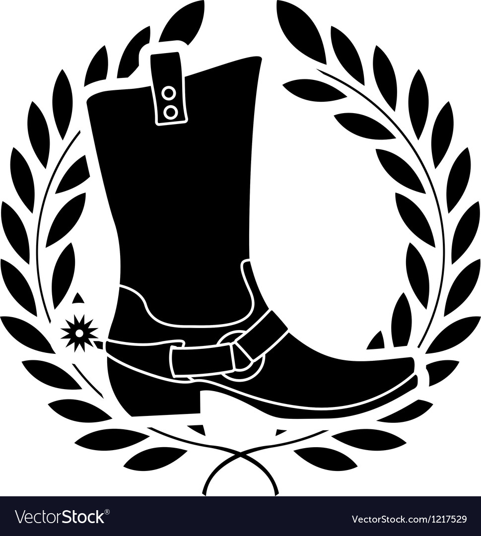 Boot with spurs stencil vector | Price: 1 Credit (USD $1)