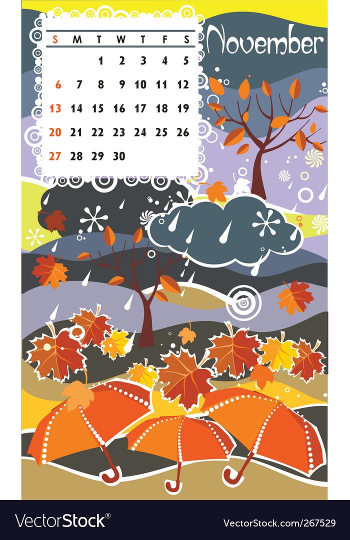 Calendar november vector | Price: 1 Credit (USD $1)
