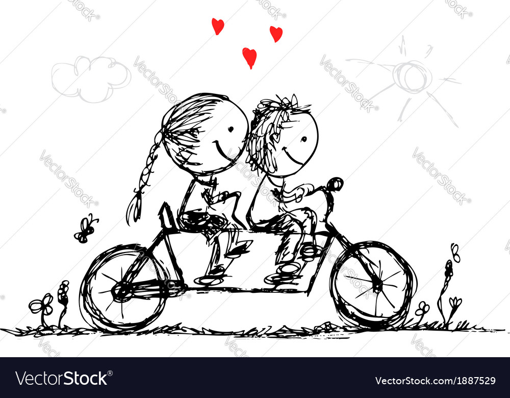 Couple cycling together valentine sketch for your vector | Price: 1 Credit (USD $1)