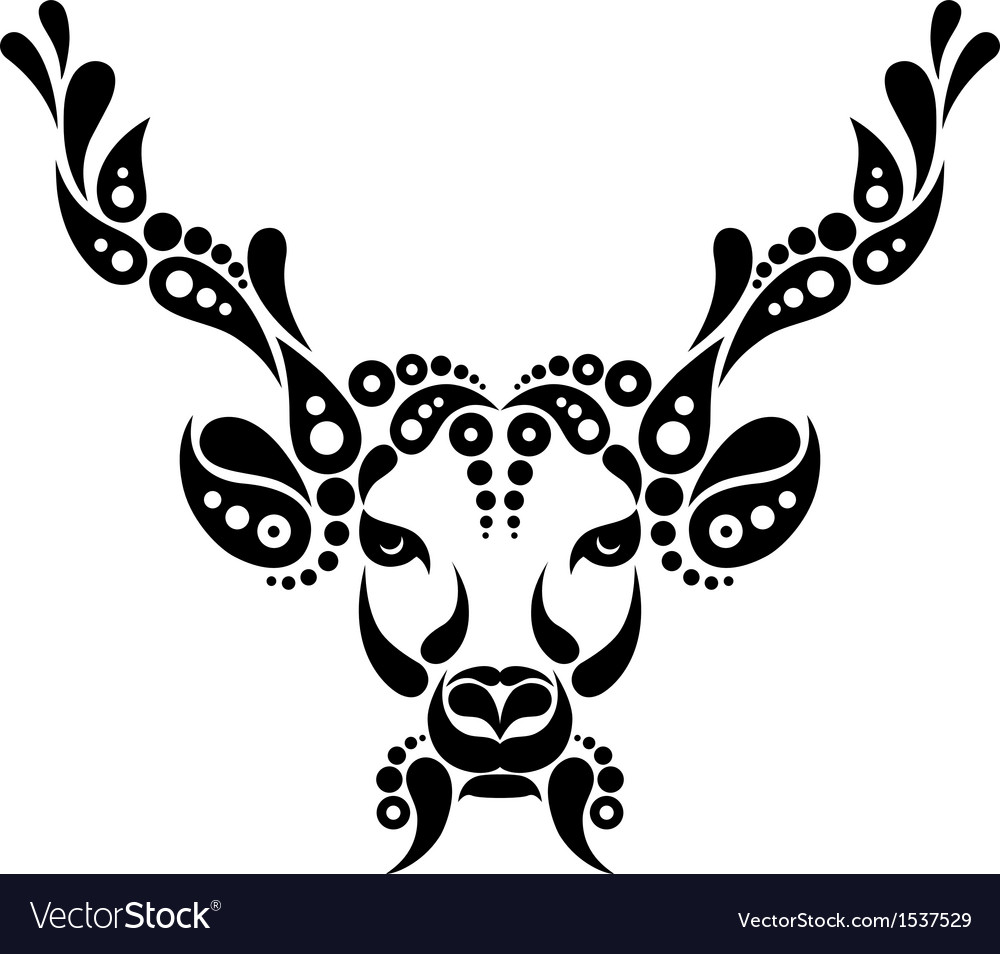 Deer tattoo symbol decoration vector | Price: 1 Credit (USD $1)